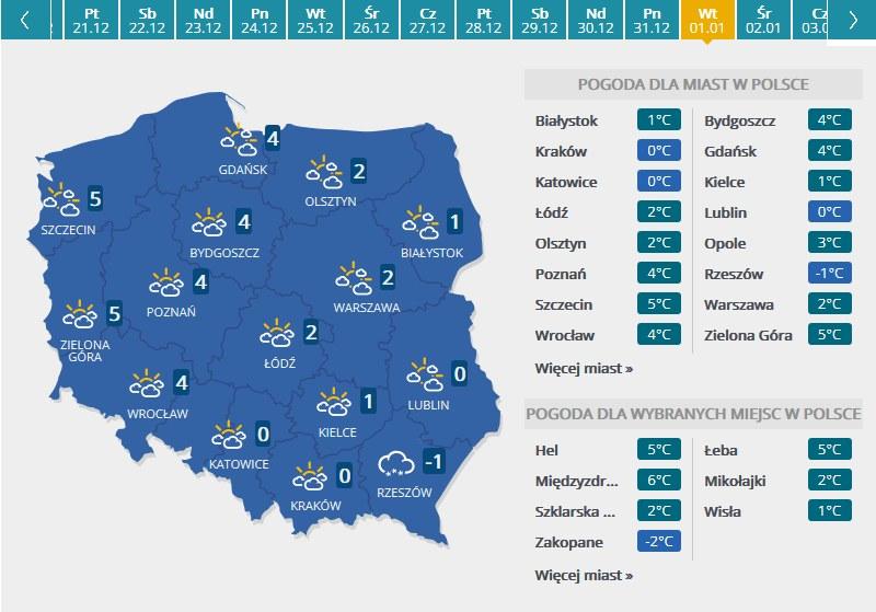 Mapa pogodowa - Nowy Rok /INTERIA.PL