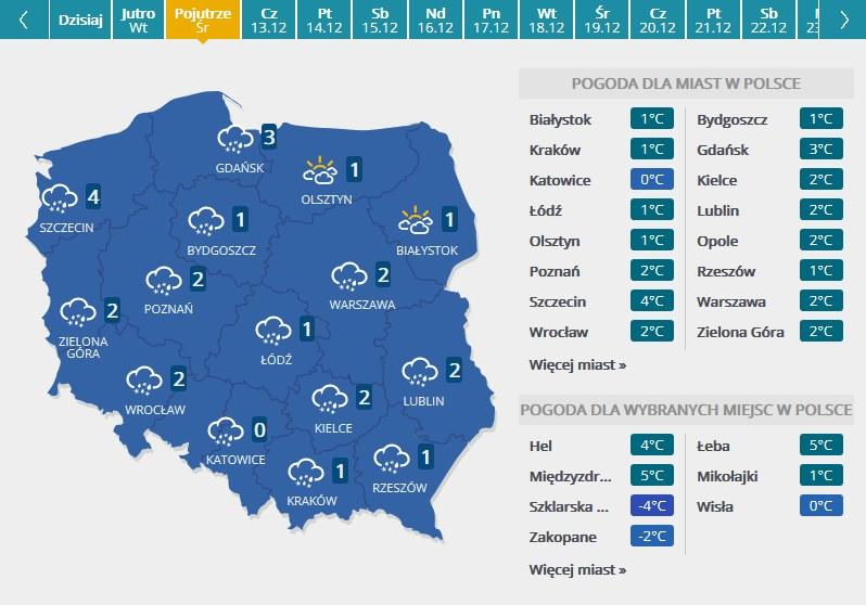 Mapa pogodowa - środa /INTERIA.PL