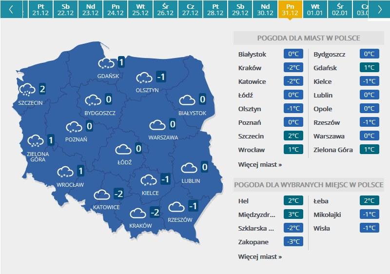 Mapa pogodowa - sylwester /INTERIA.PL