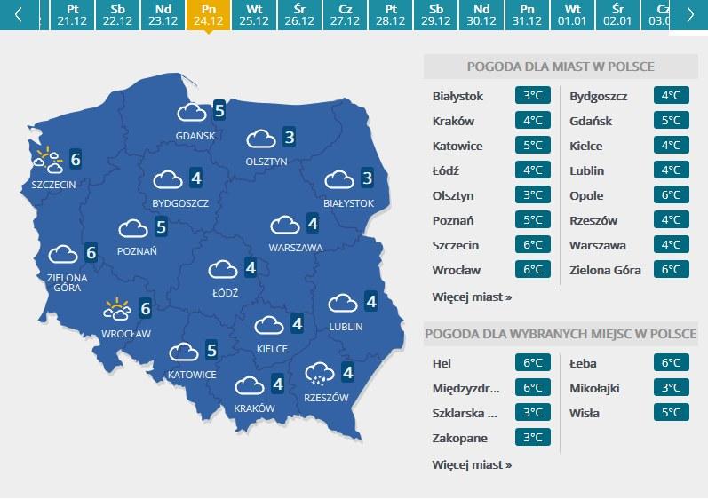 Mapa pogodowa - Wigilia /INTERIA.PL