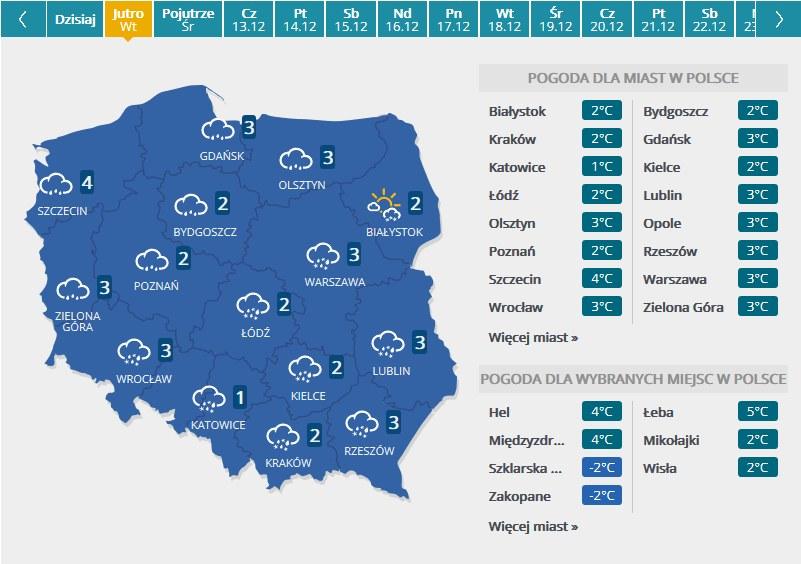 Mapa pogodowa - wtorek /INTERIA.PL