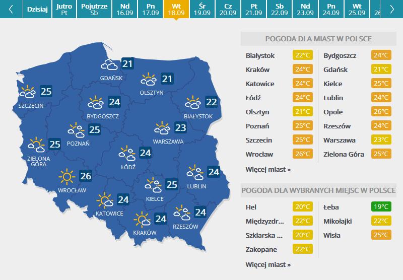 Mapa pogodowac /INTERIA.PL