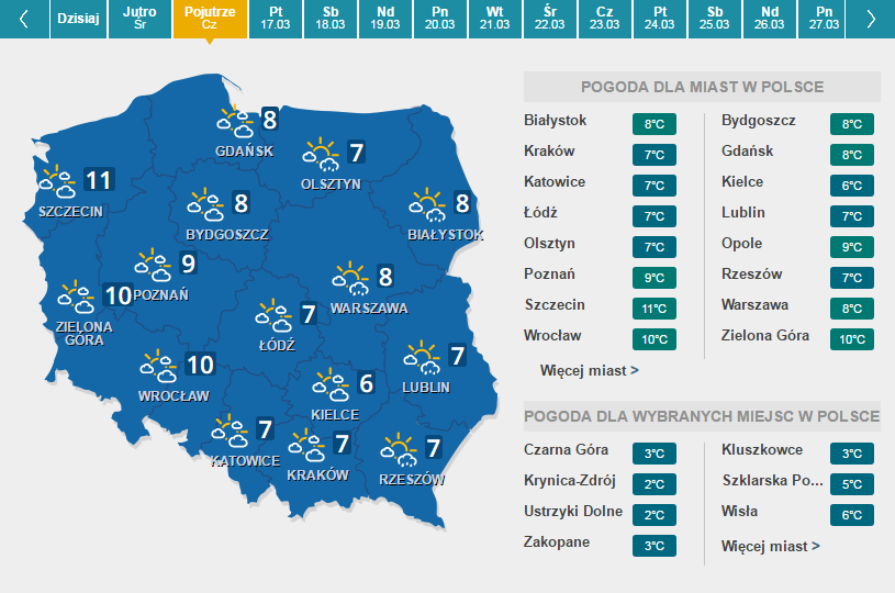 mapa pogody-czwartek /Interia.pl /INTERIA.PL
