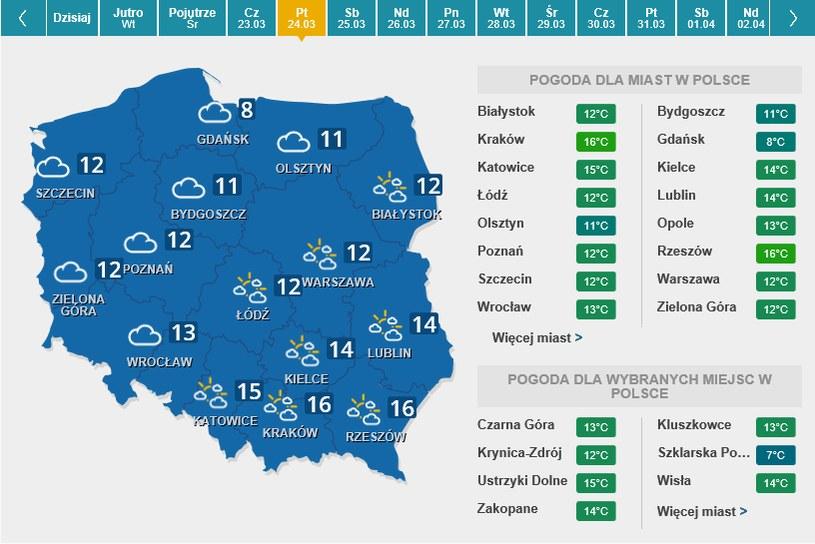Mapa pogody na piątek /Interia.pl /INTERIA.PL