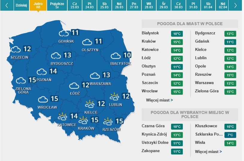 Mapa pogody na pierwszy dzień kalendarzowej wiosny /Interia.pl /INTERIA.PL