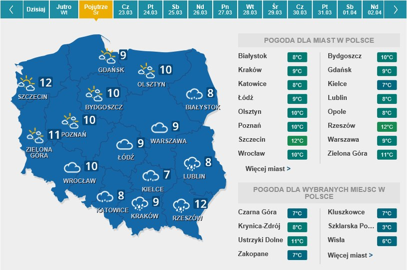 Mapa pogody na środę /Interia.pl /INTERIA.PL