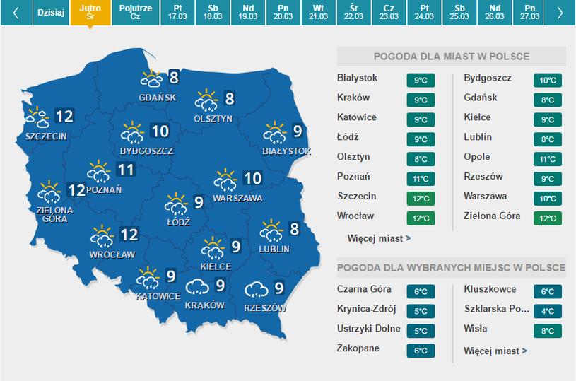 mapa pogody-środa /Interia.pl /INTERIA.PL