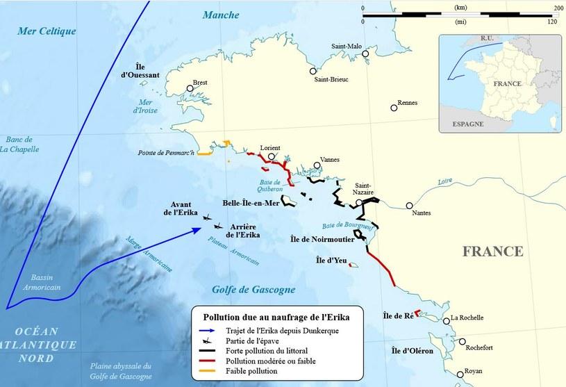 Mapa pokazujaca miejsce katastrofy i skalę zanieczyszczenia środowiska /domena publiczna