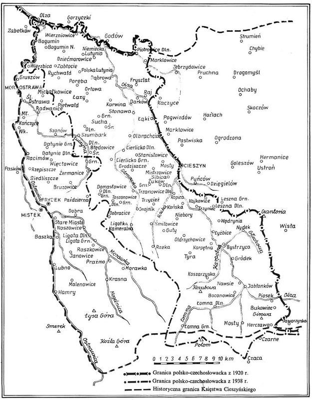 Mapa pokazująca przebieg granicy polsko-czechosłowackiej w okresie międzywojennym, na tle historycznego obszaru Zaolzia /Archiwum Tomasza Basarabowicza
