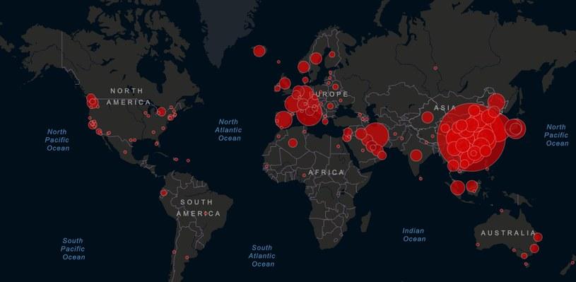 Mapa pokazująca rozprzestrzenianie się koronawirusa; stan na 5 marca, godz. 11 (źródło: https://gisanddata.maps.arcgis.com) /