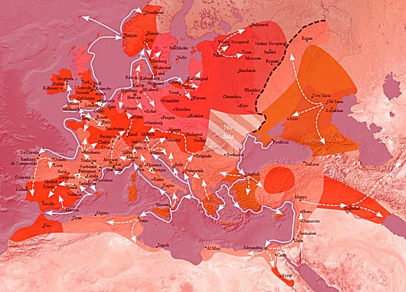 Mapa pokazująca rozwój choroby na terenie Europy /domena publiczna