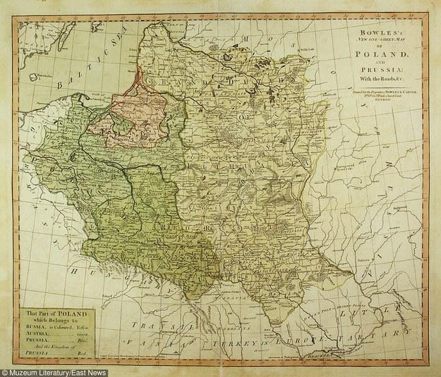 Mapa Polski po III rozbiorze; miedzioryt kolorowany; ryt. Thomas Bowles Jr; Londyn 1795 /Muzeum Literatury /East News
