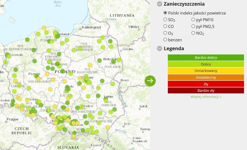 Mapa poziomu zanieczyszczeń, dane z godz. 7:20 (24.02.2017) /powietrze.gios.gov.pl /