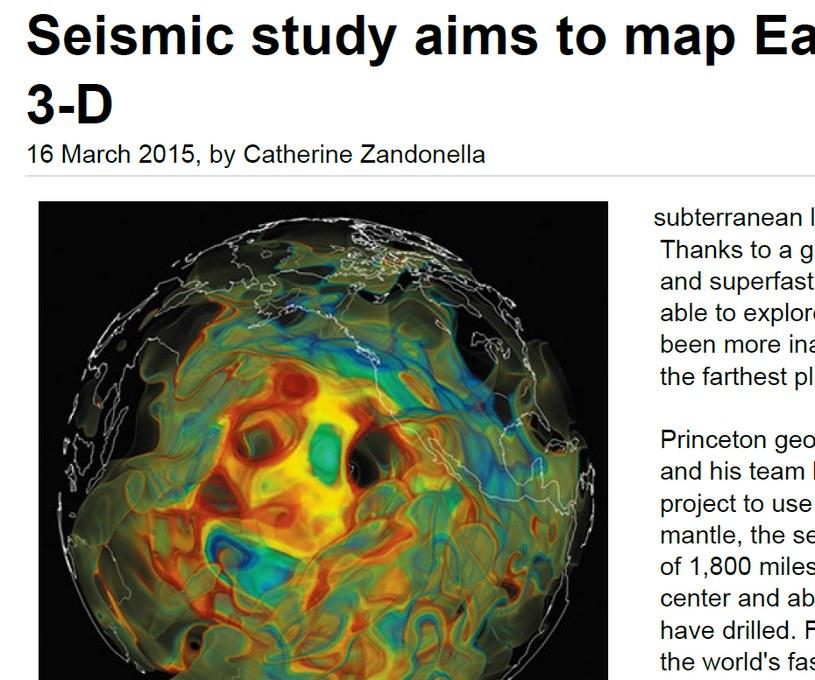 Mapa prędkości rozchodzenia się wstrząsów po trzęsieniach Ziemi /phys.org /