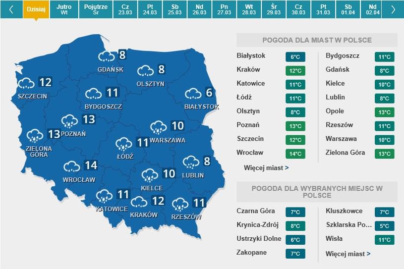 Mapa prognozy pogody dla Polski na pierwszy dzień astronomicznej wiosny, czyli na poniedziałek /Interia.pl /INTERIA.PL