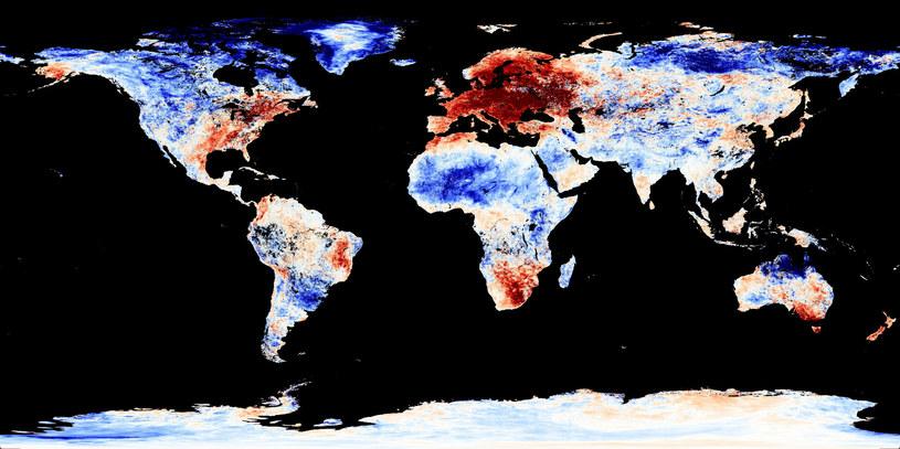 Mapa przedstawiająca anomalie temperatur w grudniu 2015 spowodowanych zmianami klimatycznymi /Jesse Allen, NASA Earth Observatory/MODIS Land Group /East News
