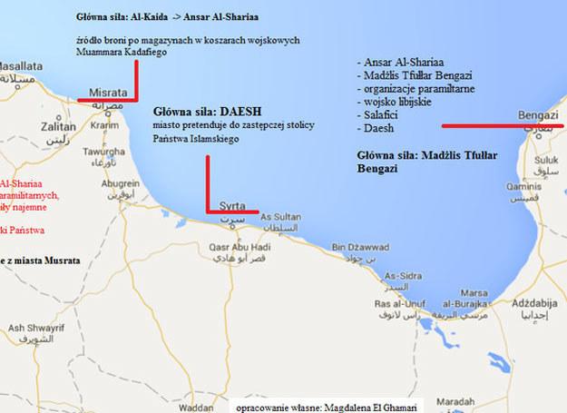 Mapa przedstawiająca kontrolę nad poszczególnymi obszarami Libii. Opracowanie Magdalena El-Ghamari, z wykorzystaniem Google Maps /Defence24