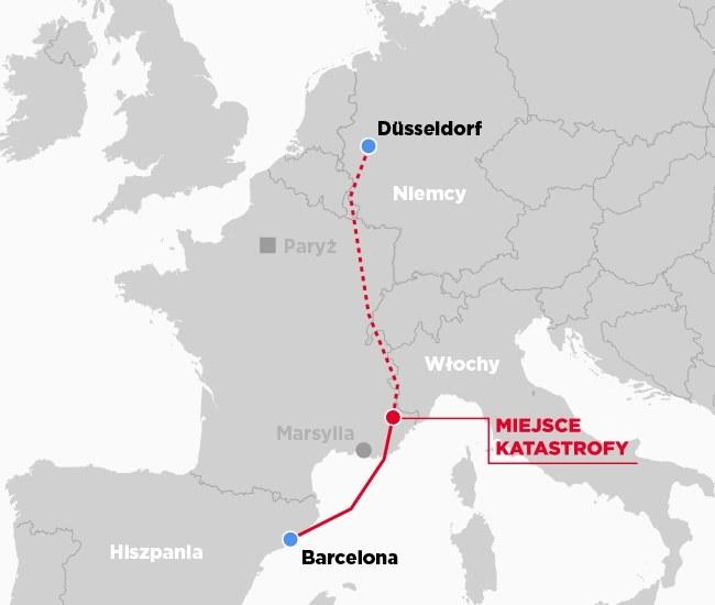 Mapa przedstawiająca miejsce katastrofy /INTERIA.PL