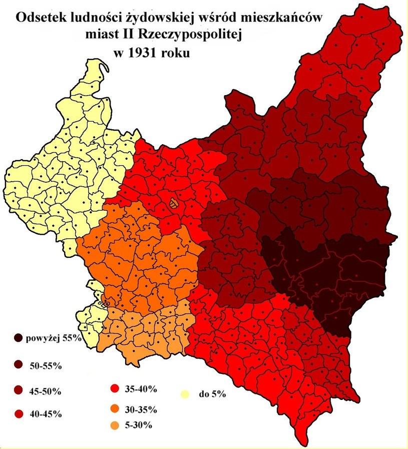 Mapa przedstawiająca odsetek mieszkańców II RP żydowskiego pochodzenia /domena publiczna
