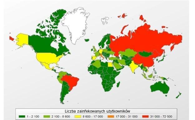Mapa przedstawiająca poziom infekcji trojanami bankowymi w poszczególnych krajach /materiały prasowe
