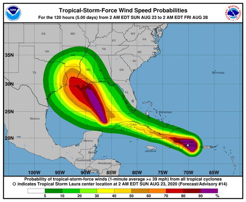 Mapa przedstawiająca prawdopodobną prędkość wiatru dla burzy tropikalnej Marco i Laura /NOAA    /PAP/EPA