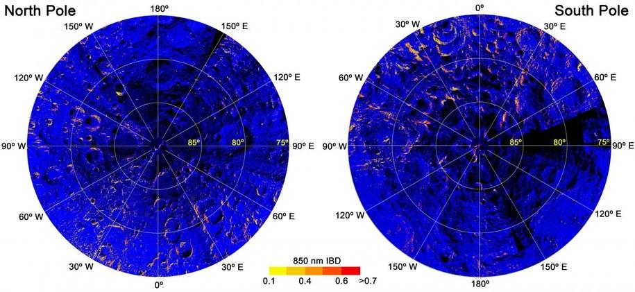 Mapa rozłożenia hematytu w rejonie północnego i południowego bieguna Księżyca /Shuai Li
