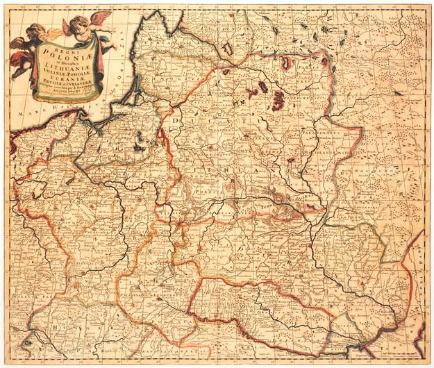 Mapa Rzeczpospolitej Obojga Narodów z XVII wieku /reprodukcja Marek Skorupski /Agencja FORUM