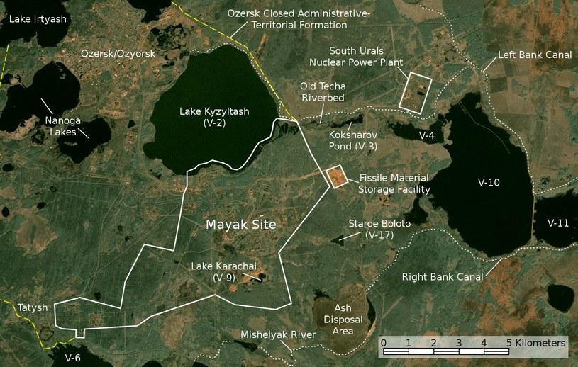 Mapa satelitarna zakładu atomowego Majak /Wikimedia Commons /domena publiczna