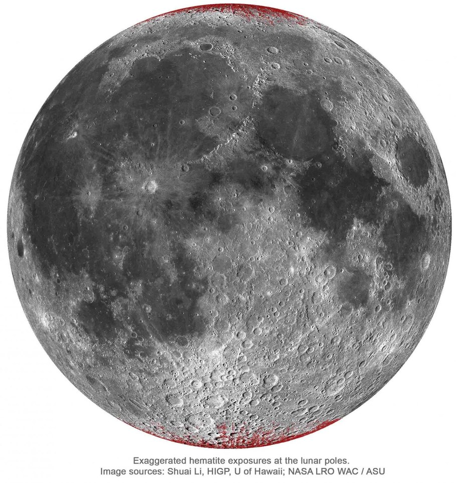 Mapa śladów hematytu na widocznej stronie Księżyca /Shuai Li /Materiały prasowe
