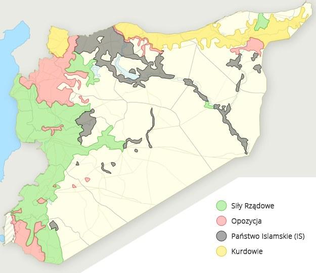 Mapa syryjskiego konfliktu (na terenach nieoznaczonych nie toczą się walki) /INTERIA.PL