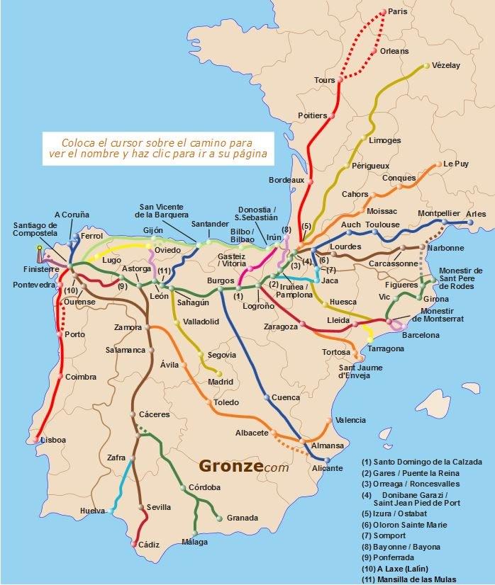 Mapa szlaków do Santiago, pochodzi ze strony: http://www.gronze.com/ /INTERIA.PL