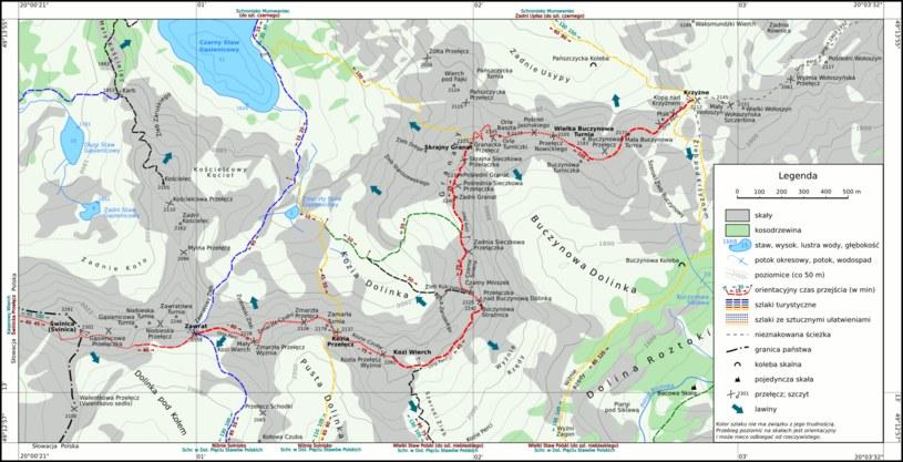 Mapa Tatr, na której zobaczycie Świnicę oraz sąsiadujący ze szczytem słynny szlak Orla Perć /Wikipedia Commons /domena publiczna