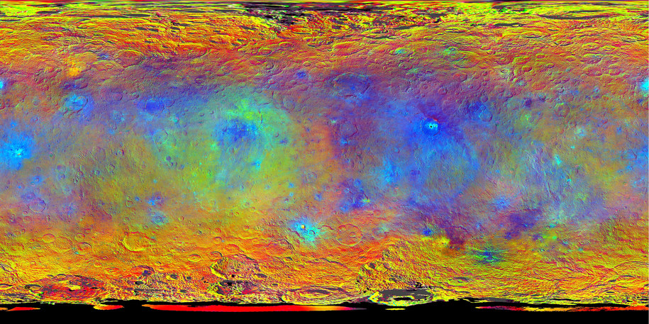 Mapa topograficzna Ceres przygotowana w oparciu o zdjęcia wykonane przes sondę dawn w sierpniu i wrześniu 2015 roku /NASA/JPL-Caltech/UCLA/MPS/DLR/IDA /materiały prasowe