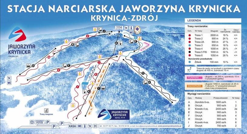 Mapa tras - Jaworzyna Krynicka /źródło: www.jaworzynakrynicka.pl /