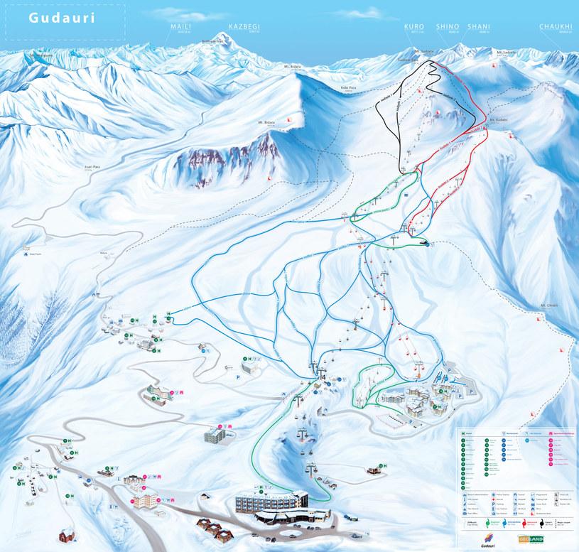Mapa tras narciarskich w Gudauri. fot. www. gudauri.info /