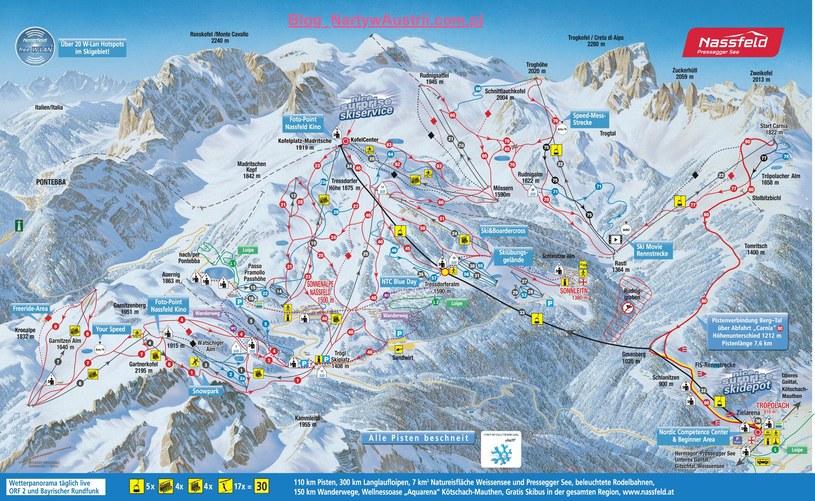 Mapa tras narciarskich w Nassfeld /