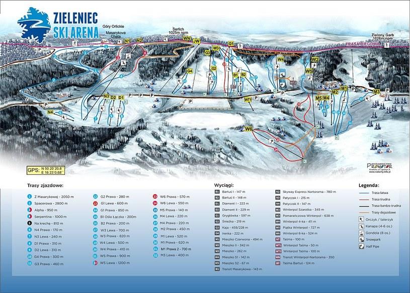 Mapa tras /źródło: Zieleniec Ski Arena /