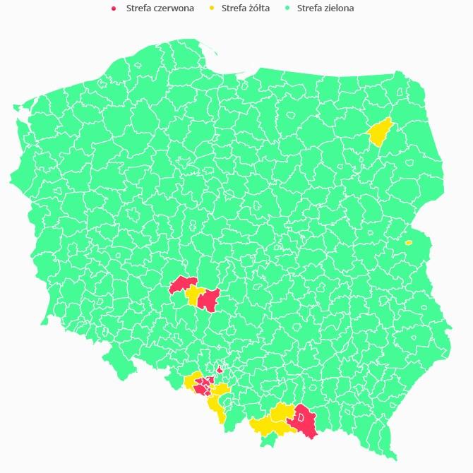 Mapa trzech stref bezpieczeństwa w Polsce. /Interia.pl /INTERIA.PL