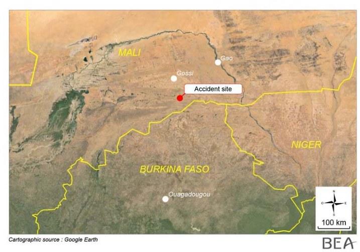Mapa z zaznaczonym miejscem katastrofy /raport BEA /