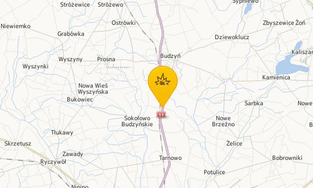 Mapa z zaznaczonym miejscem wypadku /Map24.interia.pl
