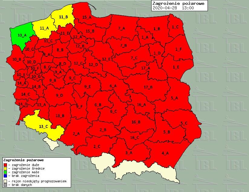 Mapa zagrożenia pożarowego / ibles.pl /RMF24