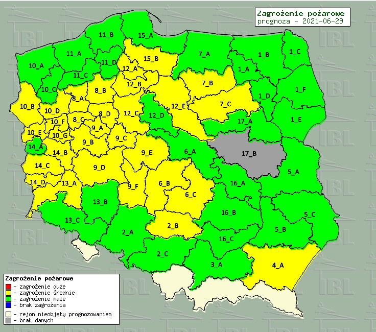 Mapa zagrożenia pożarowego, źródło: bazapozarow.ibles.pl