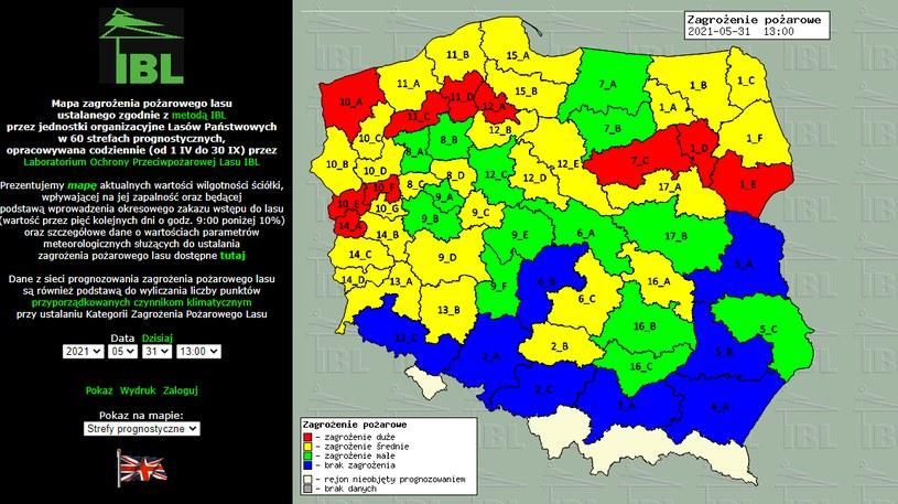 Mapa zagrożenia pożarowego /źródło: bazapozarow.ibles.pl/ /