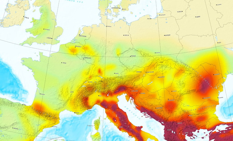 Mapa zagrożenia sejsmologicznego w Europie - Fot. Europejska Komisja Sejsmologiczna /materiały prasowe