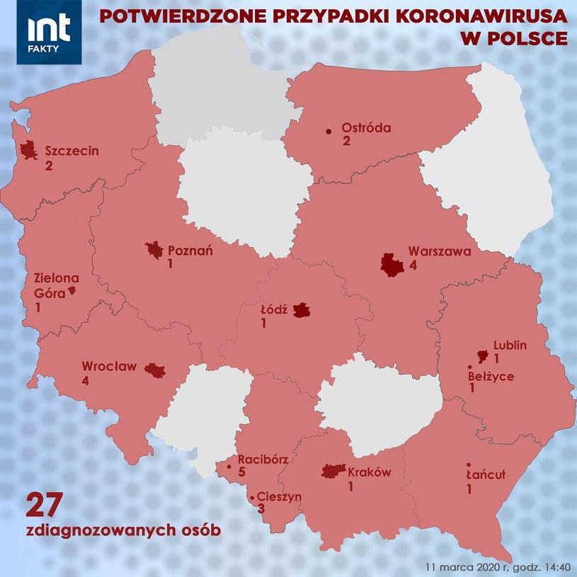 Mapa zakażeń koronawirusem w Polsce, stan na 11 marca, godz. 14.45 /INTERIA.PL