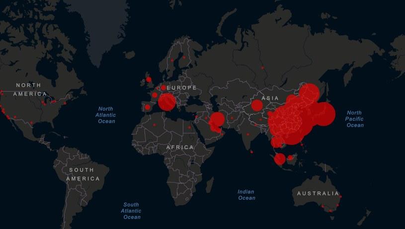Mapa zakażeń koronawirusem w środę 26 lutego/ źródło: gisanddata.maps.arcgis.com /