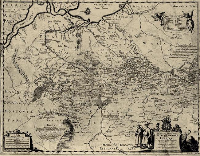 Mapa ziem ukrainnych Rzeczypospolitej w XVII wieku. W pierwotnym pojęciu Ukraina oznaczała kresy, nie obejmowała Rusi Czerwonej, Czarnej, Białej ani Wołynia /Odkrywca