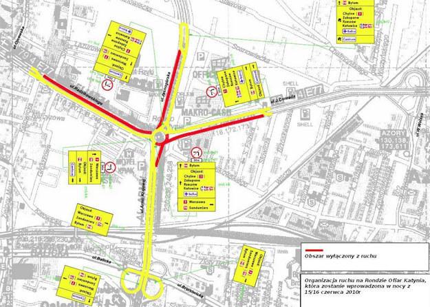 Mapa zmian w organizacji ruchu na Rondzie Ofiar Katynia  /materiały prasowe