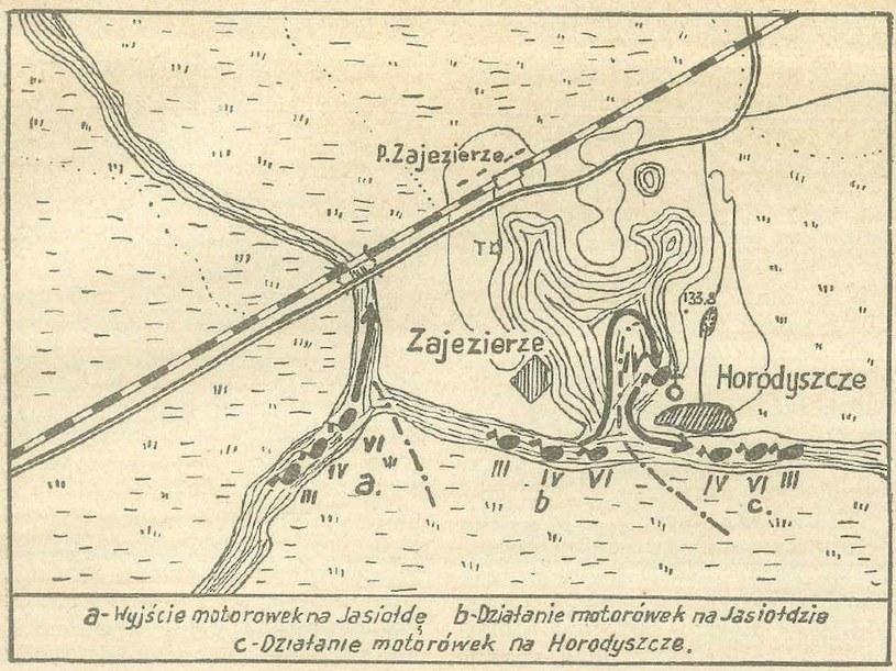 Mapka ilustrująca przebieg bitwy pod Horodyszczem /domena publiczna