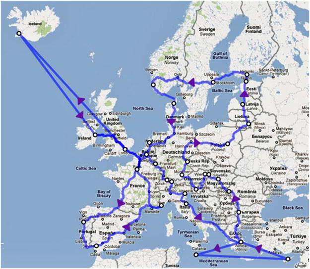 Mapka podróży Jana Lachnera /